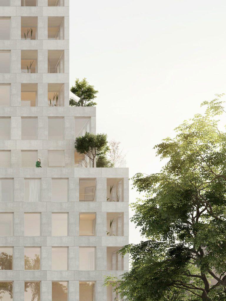 Fasadbild på Park, ett lägenhetshus i Jönköping