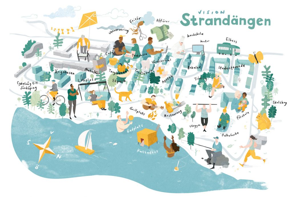 Illustrerad situationsplan, Ängshusen en del av Strandängen Jönköping
