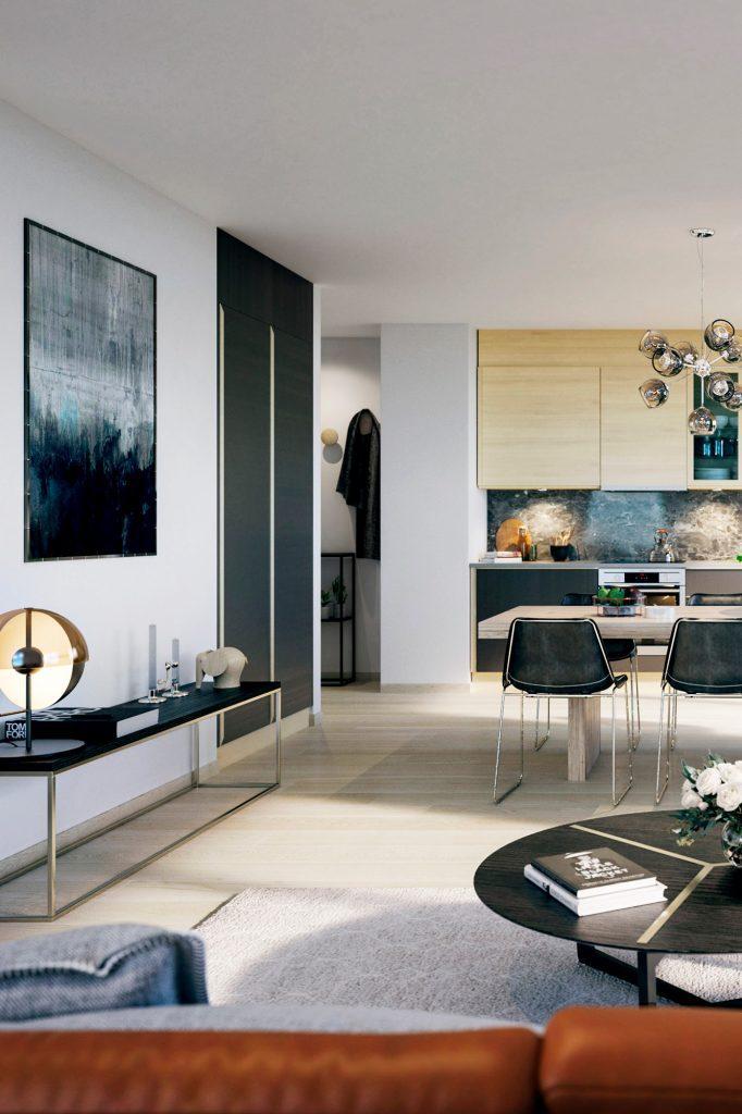 Interiörbild i ett vardagsrum i en av lägenheterna från Tosito i Jönköping
