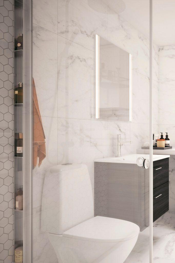 Interiörbild i ett badrum i en av lägenheterna från Tosito i Jönköping