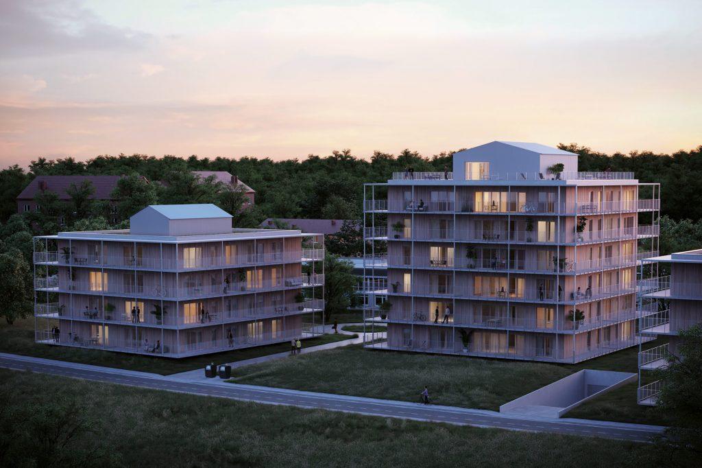 Hus B och C på natten, Ängshusen en del av Strandängen Jönköping