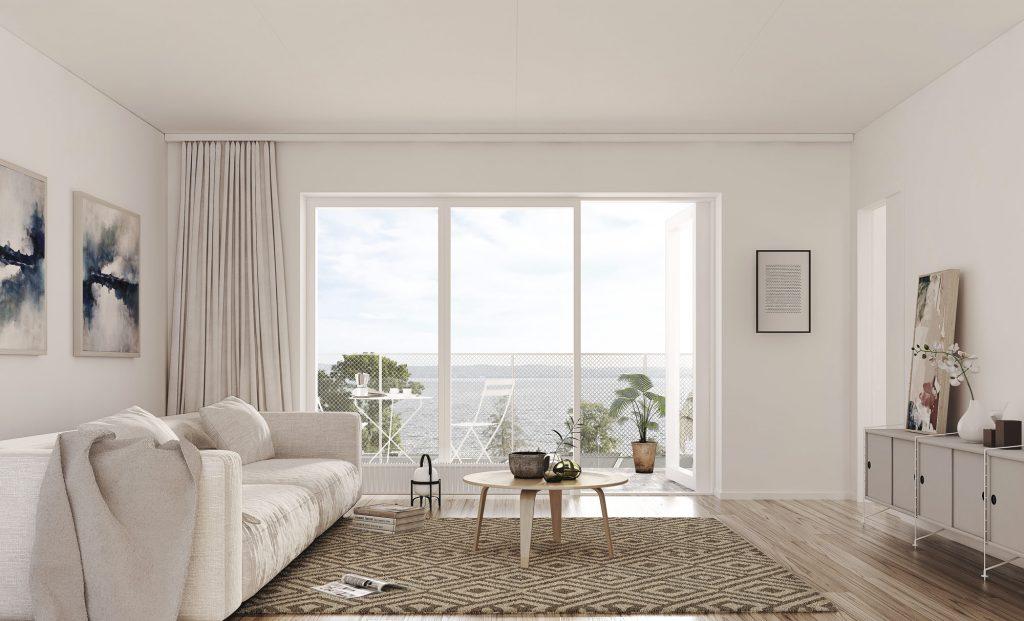 Vardagsrum, lägenheterna i Ängshusen Jönköping
