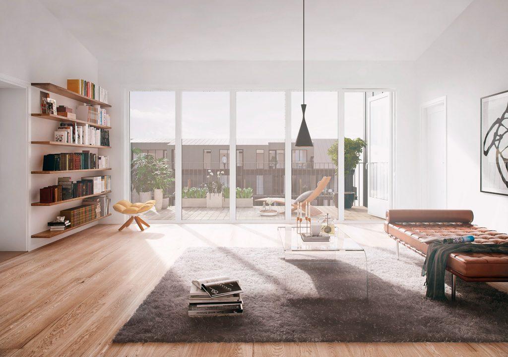 Ljust vardagsrum - Köp lägenhet på East i Jönköping