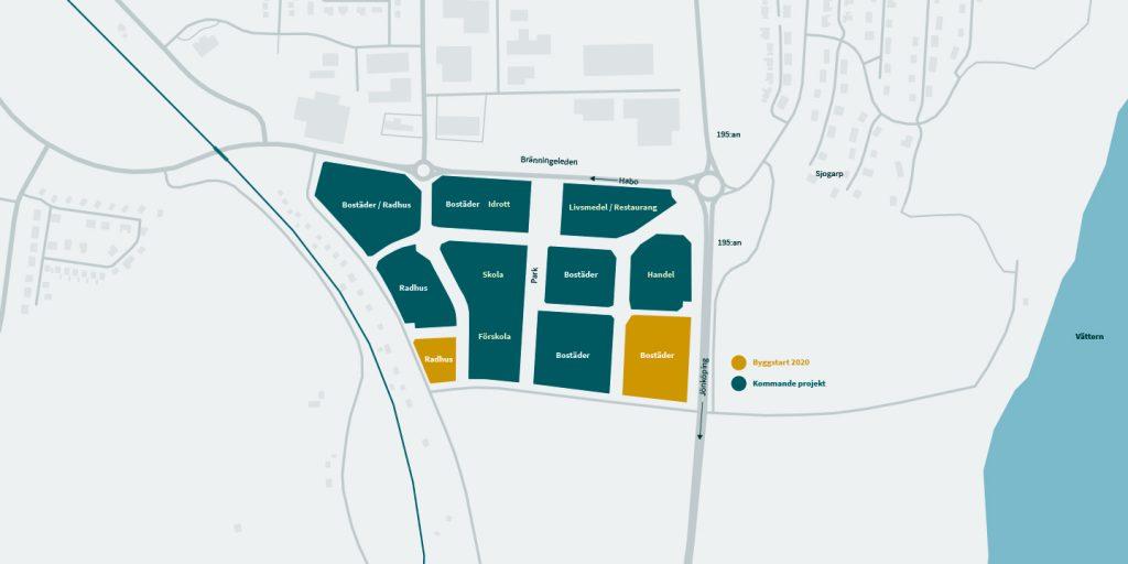 Karta över nytt område i Habo - Nyproduktion på Kärnekulla