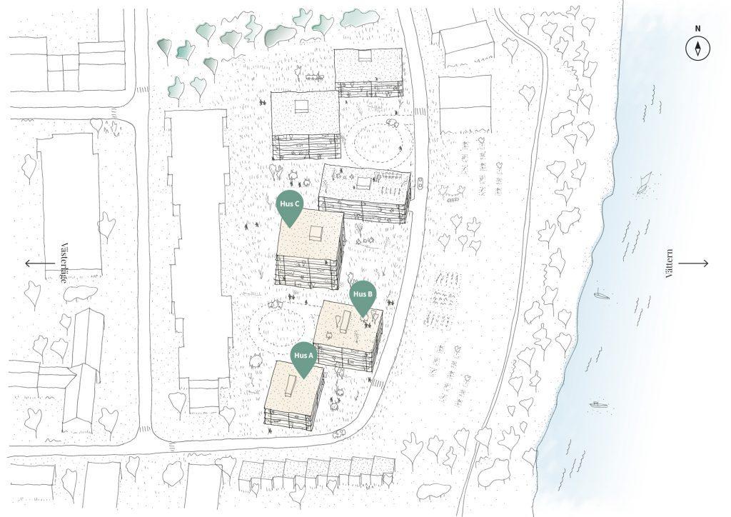 Situationsplan, Ängshusen en del av Strandängen Jönköping